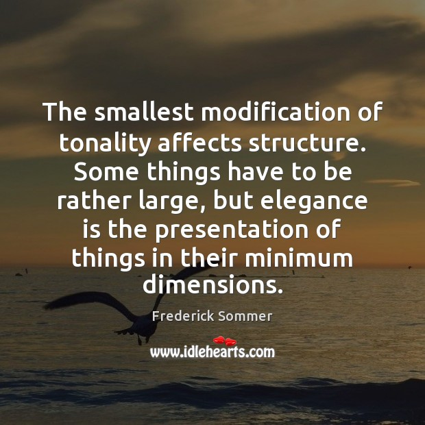 Image, The smallest modification of tonality affects structure. Some things have to be