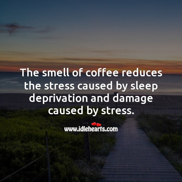 The smell of coffee reduces the stress caused by sleep deprivation. Coffee Quotes Image