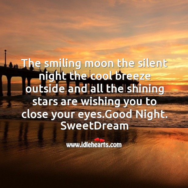 The smiling moon the silent night Image