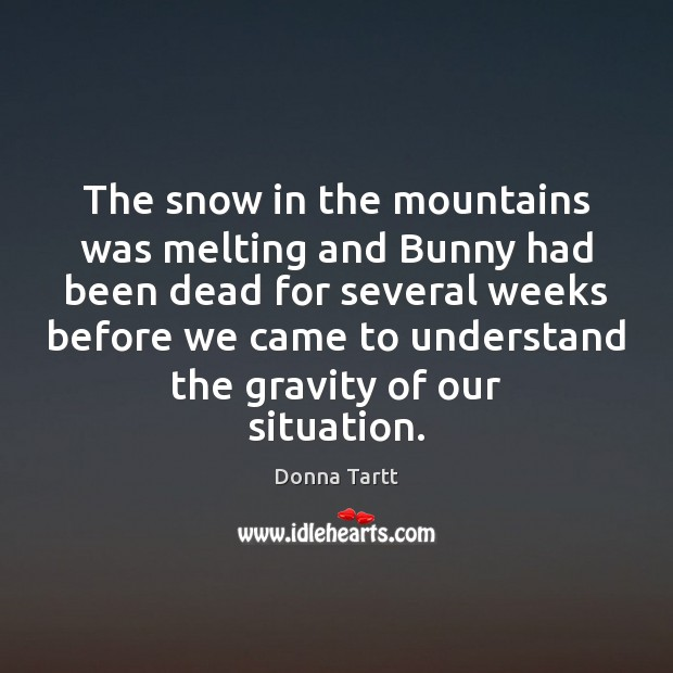 The snow in the mountains was melting and Bunny had been dead Donna Tartt Picture Quote