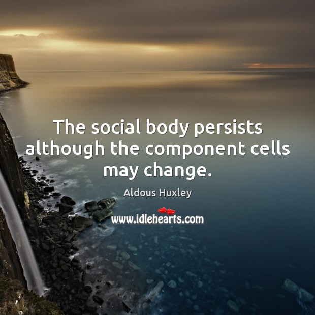The social body persists although the component cells may change. Image