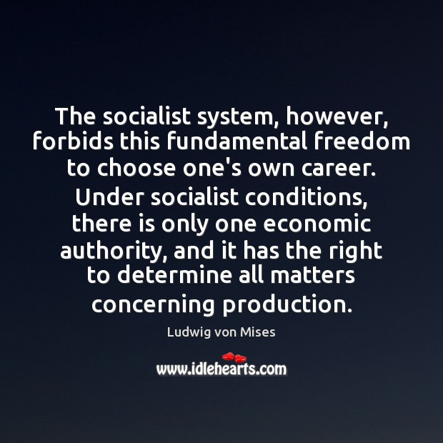 The socialist system, however, forbids this fundamental freedom to choose one's own Image