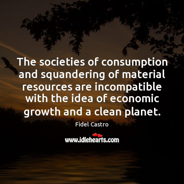 The societies of consumption and squandering of material resources are incompatible with Fidel Castro Picture Quote