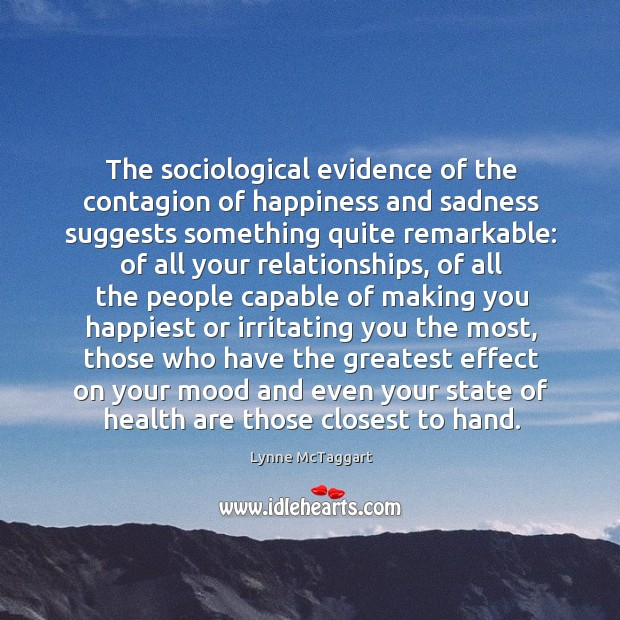 The sociological evidence of the contagion of happiness and sadness suggests something Image