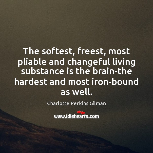 Image, The softest, freest, most pliable and changeful living substance is the brain-the