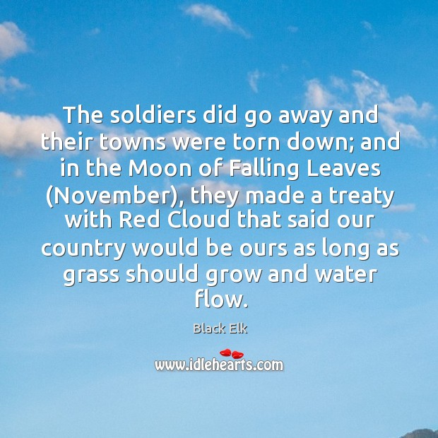 The soldiers did go away and their towns were torn down; Image