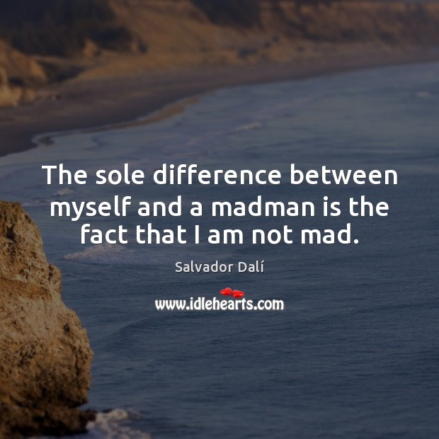 Image, The sole difference between myself and a madman is the fact that I am not mad.