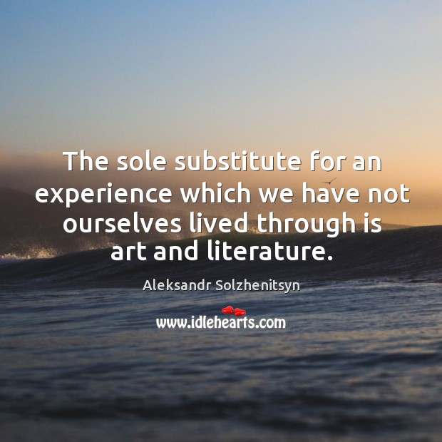 The sole substitute for an experience which we have not ourselves lived through is art and literature. Image