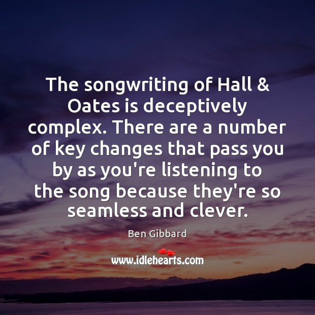Image, The songwriting of Hall & Oates is deceptively complex. There are a number