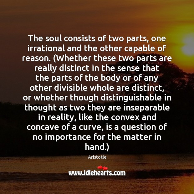 The soul consists of two parts, one irrational and the other capable Image