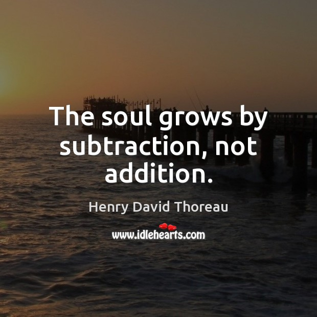 Image, The soul grows by subtraction, not addition.