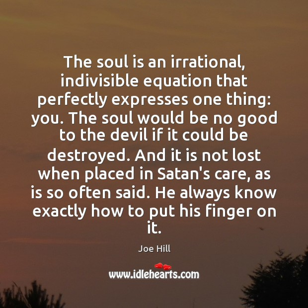 The soul is an irrational, indivisible equation that perfectly expresses one thing: Joe Hill Picture Quote