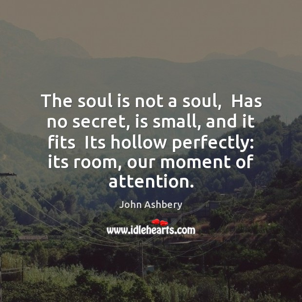 The soul is not a soul,  Has no secret, is small, and John Ashbery Picture Quote