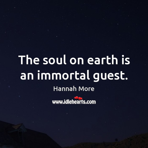 The soul on earth is an immortal guest. Image
