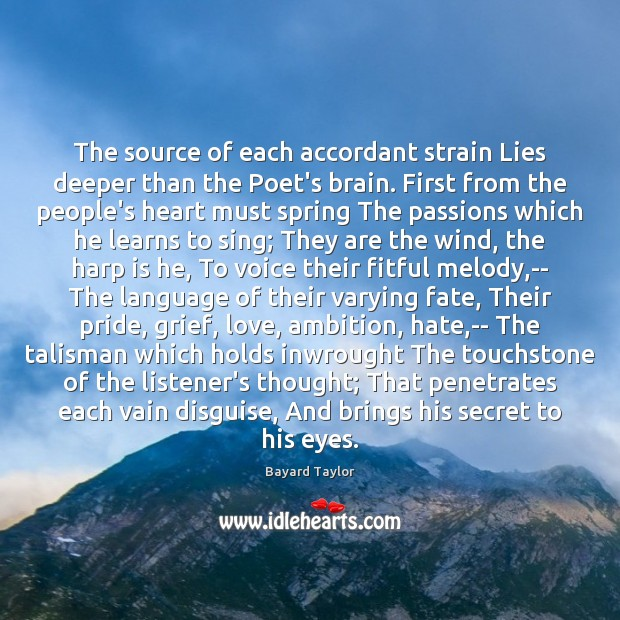 Image, The source of each accordant strain Lies deeper than the Poet's brain.