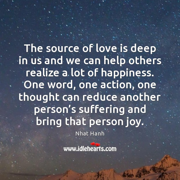 Image, The source of love is deep in us and we can help