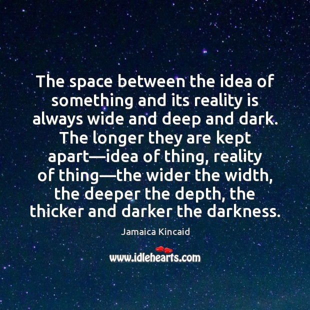 The space between the idea of something and its reality is always Image