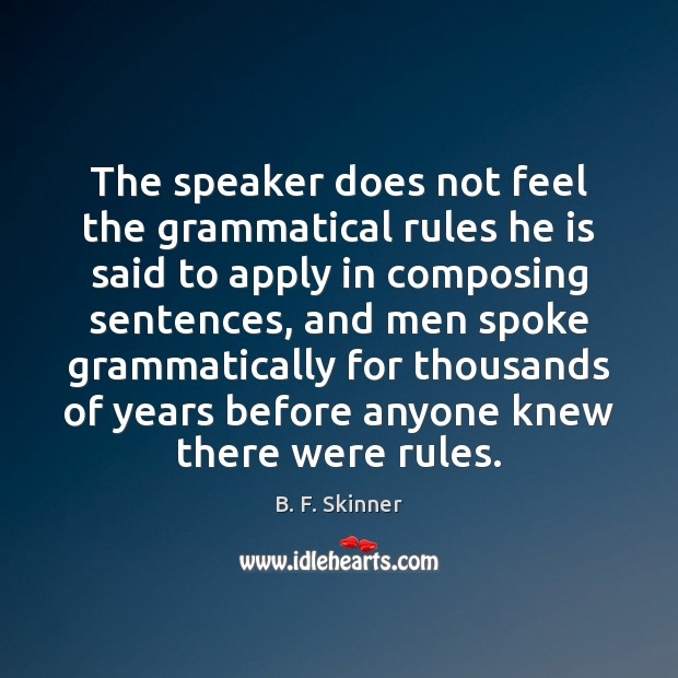 Image, The speaker does not feel the grammatical rules he is said to