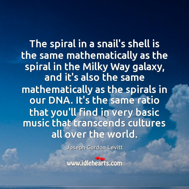 The spiral in a snail's shell is the same mathematically as the Joseph Gordon Levitt Picture Quote