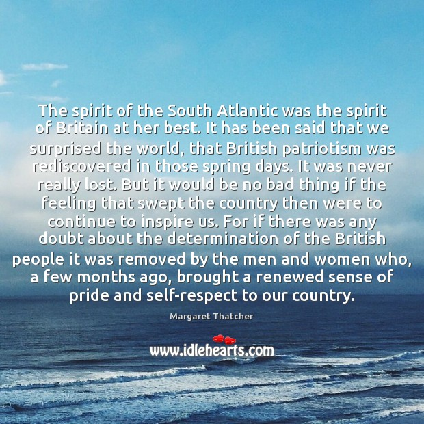The spirit of the South Atlantic was the spirit of Britain at Image
