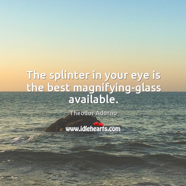 The splinter in your eye is the best magnifying-glass available. Image