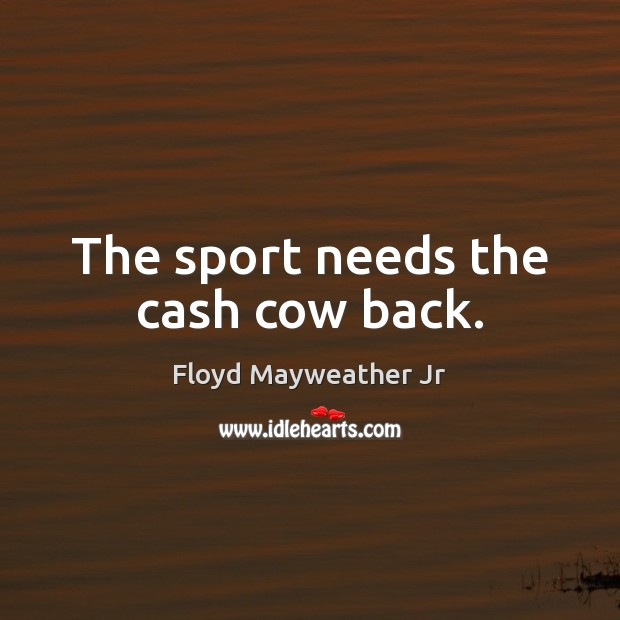 The sport needs the cash cow back. Floyd Mayweather Jr Picture Quote