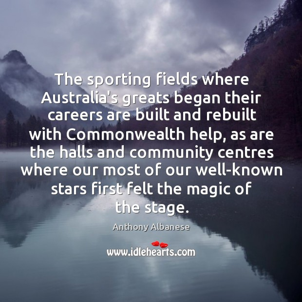 The sporting fields where Australia's greats began their careers are built and Image