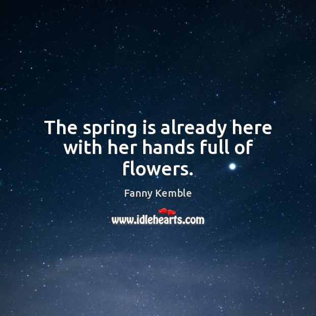 Image, The spring is already here with her hands full of flowers.