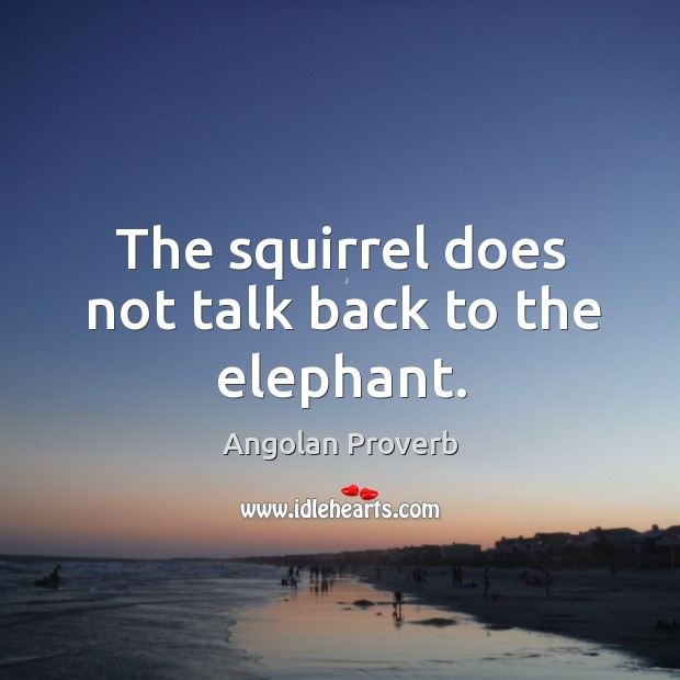 The squirrel does not talk back to the elephant. Angolan Proverbs Image