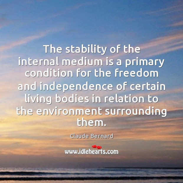 The stability of the internal medium is a primary condition for the Environment Quotes Image