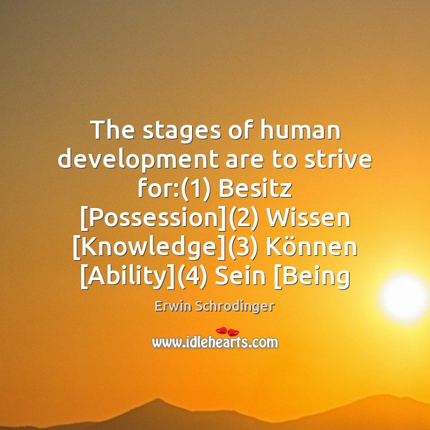 The stages of human development are to strive for:(1) Besitz [Possession](2) Wissen [ Erwin Schrodinger Picture Quote