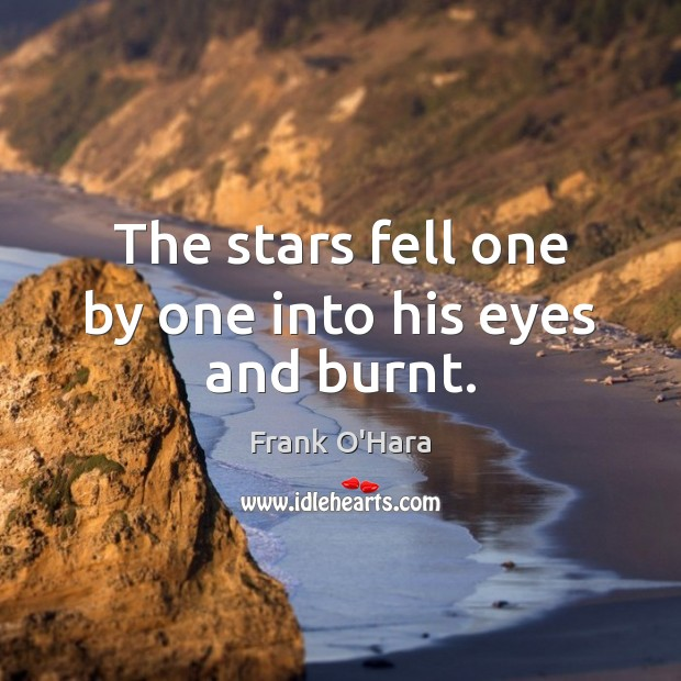 The stars fell one by one into his eyes and burnt. Image