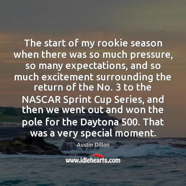 The start of my rookie season when there was so much pressure, Image