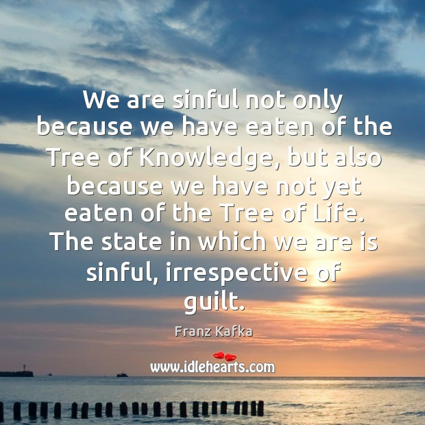 Image, The state in which we are is sinful, irrespective of guilt.