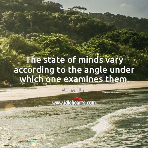 Image, The state of minds vary according to the angle under which one examines them.