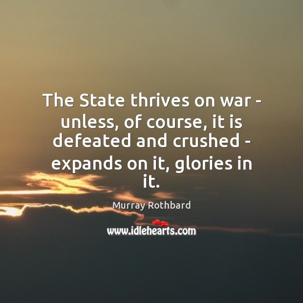 The State thrives on war – unless, of course, it is defeated Murray Rothbard Picture Quote