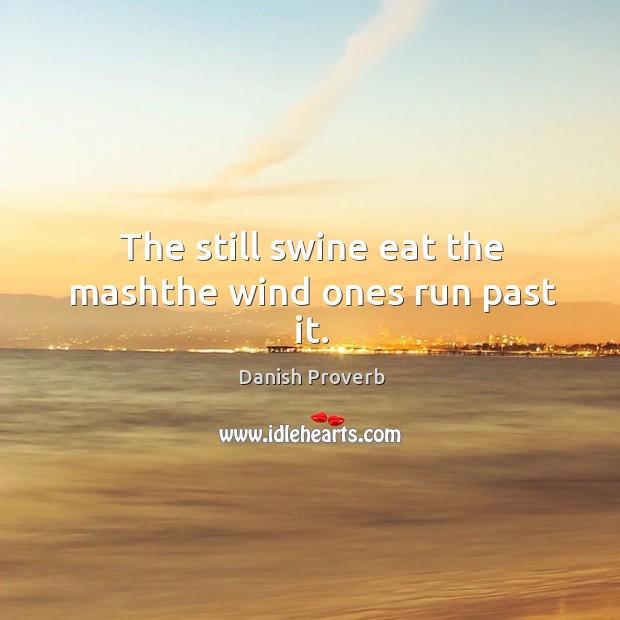 Image, The still swine eat the mashthe wind ones run past it.