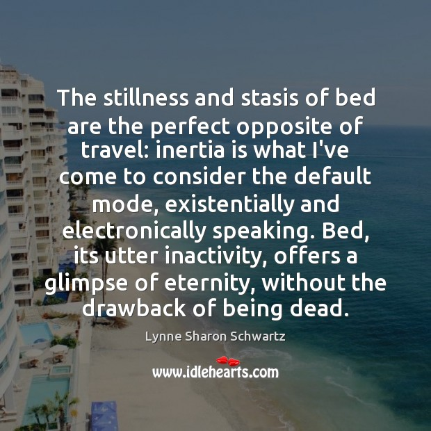 The stillness and stasis of bed are the perfect opposite of travel: Lynne Sharon Schwartz Picture Quote