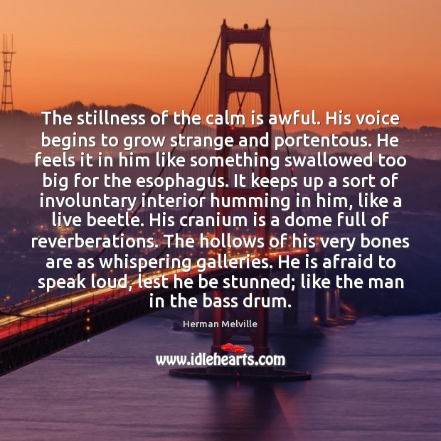 The stillness of the calm is awful. His voice begins to grow Herman Melville Picture Quote