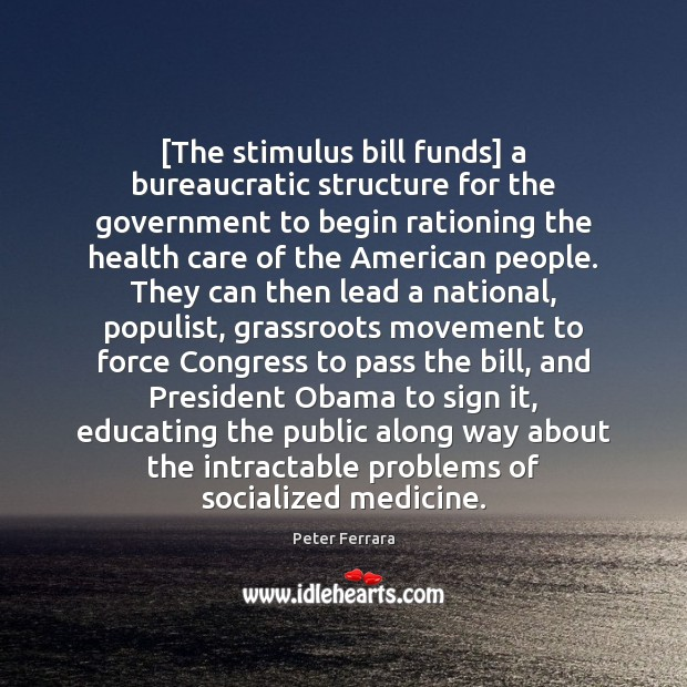 [The stimulus bill funds] a bureaucratic structure for the government to begin Image