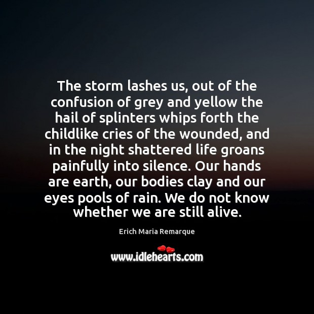 The storm lashes us, out of the confusion of grey and yellow Erich Maria Remarque Picture Quote
