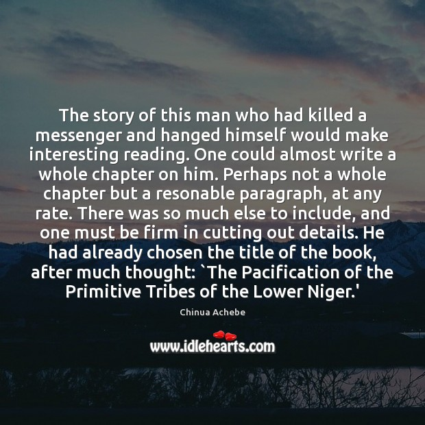 The story of this man who had killed a messenger and hanged Image