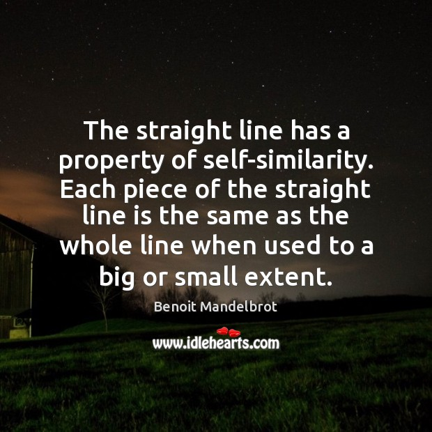 The straight line has a property of self-similarity. Each piece of the Benoit Mandelbrot Picture Quote
