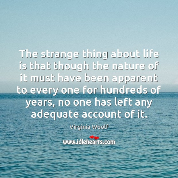 The strange thing about life is that though the nature of it Virginia Woolf Picture Quote