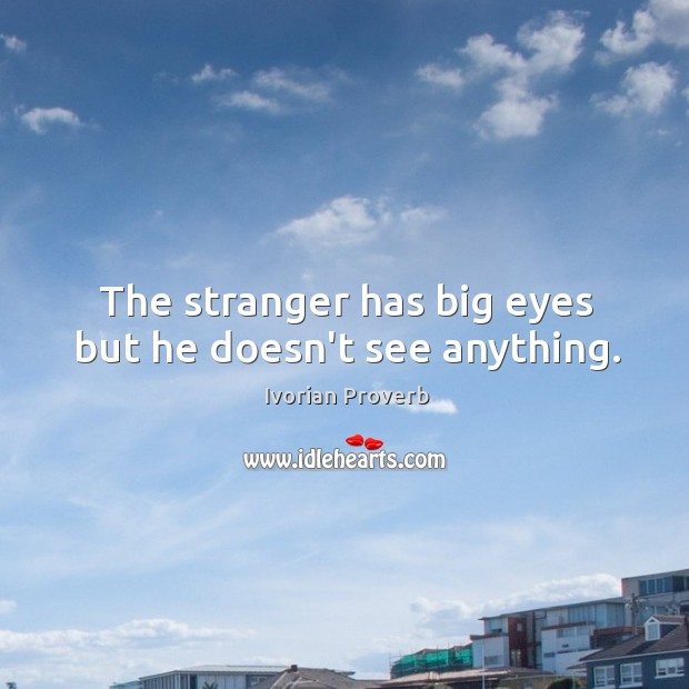 The stranger has big eyes but he doesn't see anything. Ivorian Proverbs Image