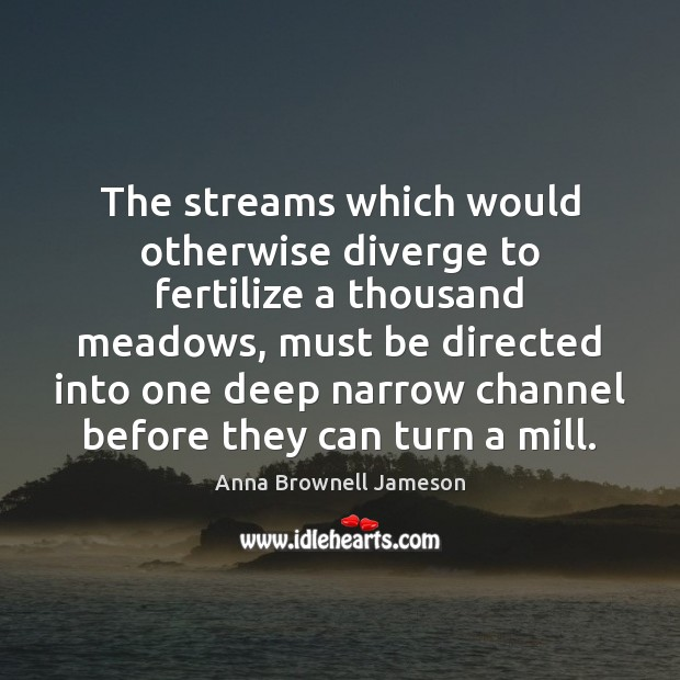 Image, The streams which would otherwise diverge to fertilize a thousand meadows, must