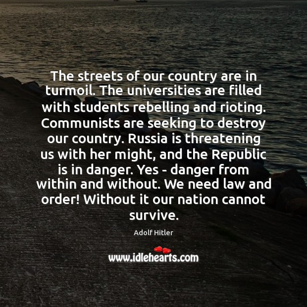 The streets of our country are in turmoil. The universities are filled Adolf Hitler Picture Quote