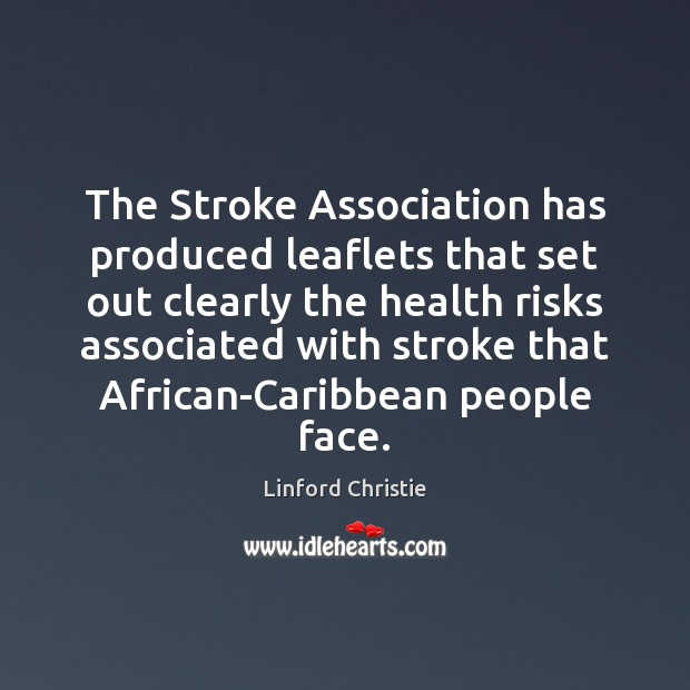 The Stroke Association has produced leaflets that set out clearly the health Image