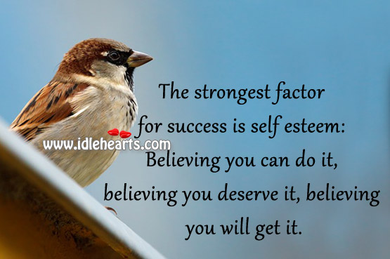 The strongest factor for success is self esteem Image