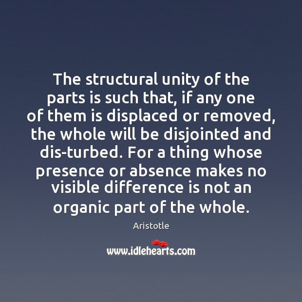 Image, The structural unity of the parts is such that, if any one